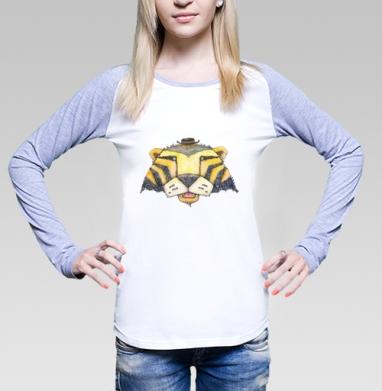 Тигр, Футболка лонгслив женская бело-серая