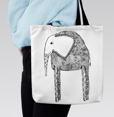 Черно-белый слон, Сумка с полной запечаткой