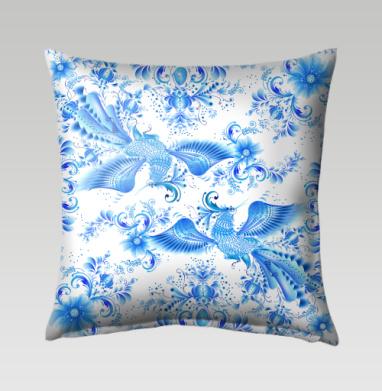Синяя птица удачи в стиле гжельской росписи, Подушка
