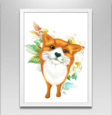 Лисёнок и розы - Постеры, собаки, Популярные