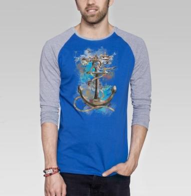 Морской волк - Футболка мужская с длинным рукавом синий / серый меланж, пейзаж, Популярные