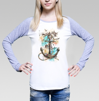 Морской волк, Футболка лонгслив женская бело-серая