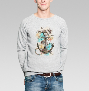 Морской волк, Свитшот мужской серый-меланж  320гр, стандарт