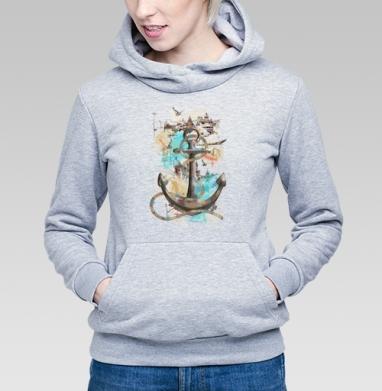 Морской волк, Толстовка Женская серый меланж 340гр, теплая