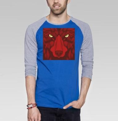 Квадратный волк - Футболка мужская с длинным рукавом синий / серый меланж