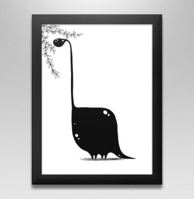 Динозавр в чб, Постер в чёрной раме