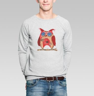 Лоскутная сова - Свитшот мужской без капюшона серый меланж