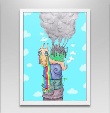 Эко-улитка - Постер в белой раме, дым