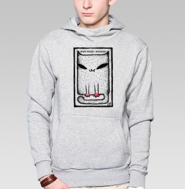 Катейка с лапками - Толстовка мужская, накладной карман серый меланж