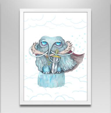 Снежный мамонт - Постер в белой раме, животные