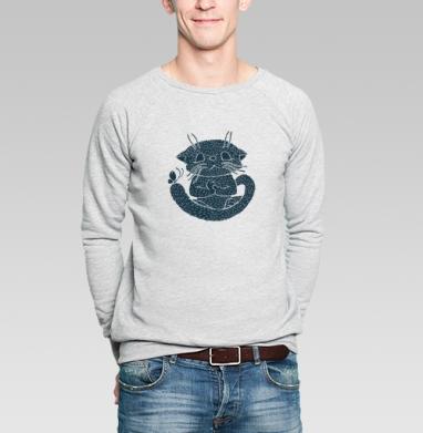 Не кипешуй - Свитшот мужской серый-меланж  320гр, стандарт