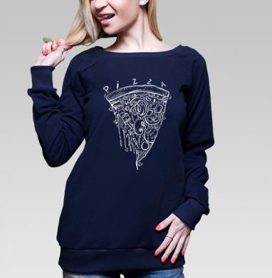 Cвитшот жен. тёмно-синий  320гр, стандарт - Пицца