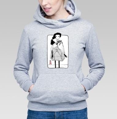 Маяк чб, Толстовка Женская серый меланж 340гр, теплая