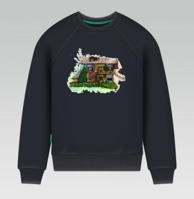 Свитшот мужской темн-синий 340гр, теплый - Летний дом