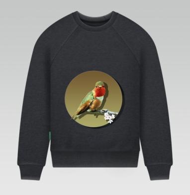 Свитшот мужской темно-серый меланж 240гр, тонкий - Птичка на ветре с цветком