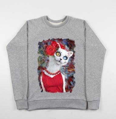 Cвитшот женский серый-меланж 340гр, теплый, серый-меланж - Интернет магазин футболок №1 в Москве