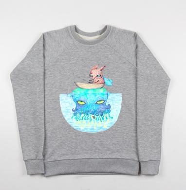 Рыбалка на медузе - Купить детские свитшоты со сказками в Москве, цена детских свитшотов со сказками  с прикольными принтами - магазин дизайнерской одежды MaryJane