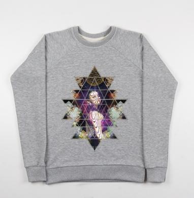 Шанти - Cвитшот женский серый-меланж 340гр, теплый, психоделика, Популярные