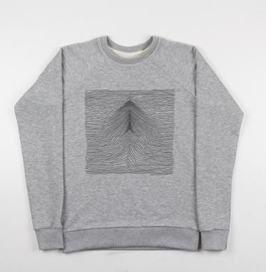 Струны - Cвитшот женский серый-меланж 340гр, теплый, Популярные