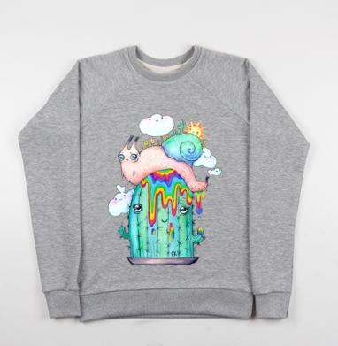 Улитка на кактусе - Купить детские свитшоты с насекомыми в Москве, цена детских свитшотов с насекомыми  с прикольными принтами - магазин дизайнерской одежды MaryJane