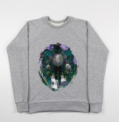 Великий архитектор вселенной  - Cвитшот женский серый-меланж 340гр, теплый, психоделика, Популярные