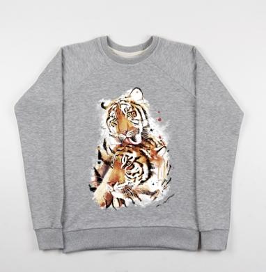 Влюбленные тигры - Купить детские свитшоты с кошками в Москве, цена детских свитшотов с кошками  с прикольными принтами - магазин дизайнерской одежды MaryJane