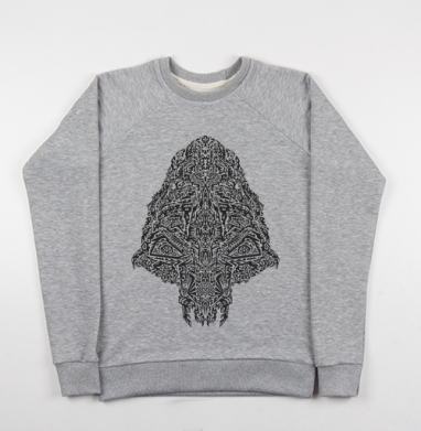 Cвитшот женский серый-меланж 340гр, теплый - Череп пришельца