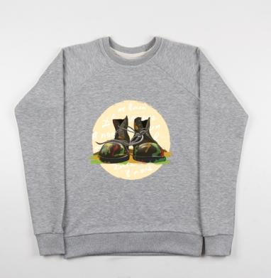 Два сапога - в поле не воин - Купить детские свитшоты военные в Москве, цена детских свитшотов военных с прикольными принтами - магазин дизайнерской одежды MaryJane