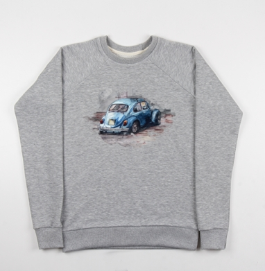 Фольксваген жук (муж.), Cвитшот женский серый-меланж 340гр, теплый