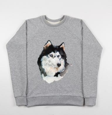 Голубоглазый хаски - Купить детские свитшоты с волками в Москве, цена детских свитшотов с волками  с прикольными принтами - магазин дизайнерской одежды MaryJane