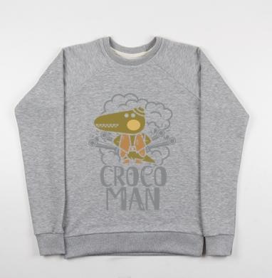 Крокодил - Cвитшот женский серый-меланж 340гр, теплый, мужские, Популярные
