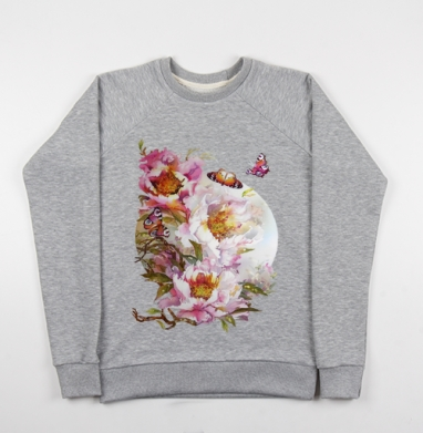 Пионы и бабочки - Купить детские свитшоты с живописью в Москве, цена детских свитшотов с живописью  с прикольными принтами - магазин дизайнерской одежды MaryJane