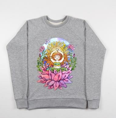 Йога дюймовочка на цветке - Купить детские свитшоты с йогой в Москве, цена детских свитшотов с йогой  с прикольными принтами - магазин дизайнерской одежды MaryJane