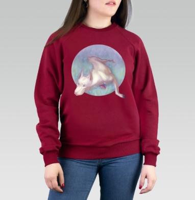 Белый доберман - Cвитшот женский темн.-красный 340гр, теплый, Популярные