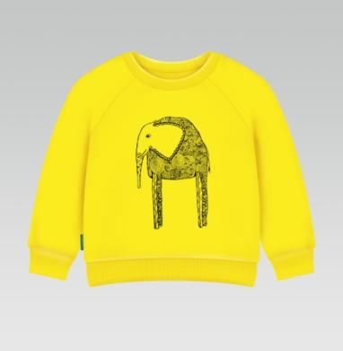 Черно-белый слон, Cвитшот Детский желтый 240гр, тонкая