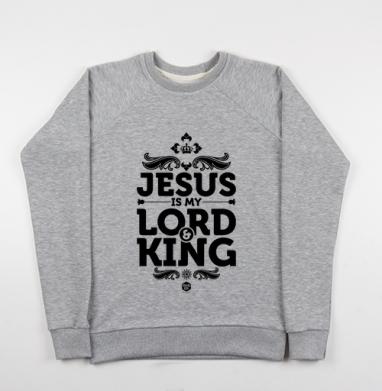 Cвитшот женский серый-меланж 340гр, теплый - Иисус - Царь и Господь