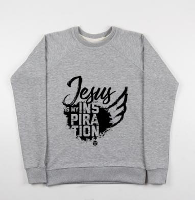 Cвитшот женский серый-меланж 340гр, теплый - Иисус мое вдохновение