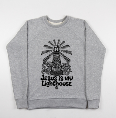 Cвитшот женский серый-меланж 340гр, теплый - Иисус мой маяк