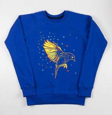 Птицафлай - Cвитшот женский, синий 320гр, стандарт, Популярные