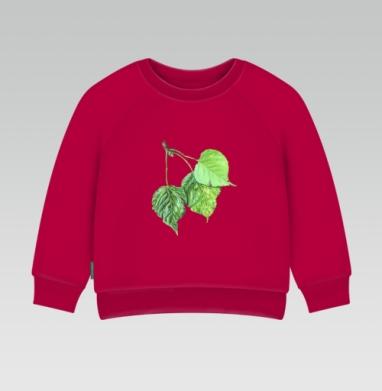 Cвитшот Детский темно-красный 340гр, теплый - Листья тополя