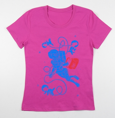 Футболка женская фуксия, розовый - Интернет магазин футболок №1 в Москве