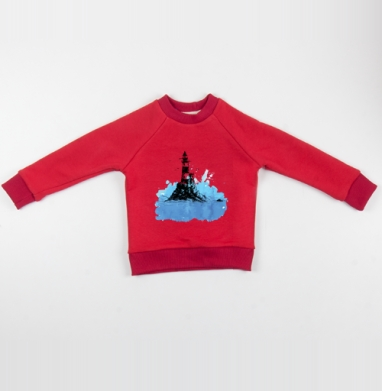 Маяк - Cвитшот Детский красный 340гр, теплый, Популярные