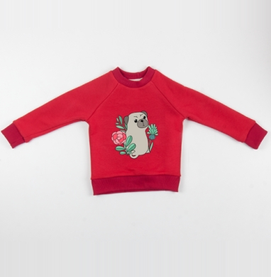 Мопс -  - Cвитшот Детский красный 340гр, теплый, Популярные