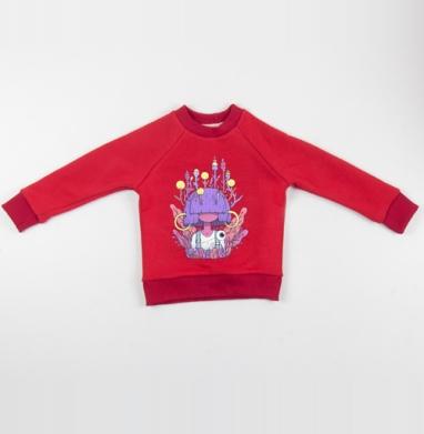 Маха - Cвитшот Детский красный 340гр, теплый, Популярные