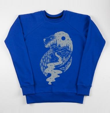 Таинственный лев - Cвитшот женский, синий 320гр, стандарт, Популярные