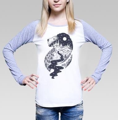 Таинственный лев, Футболка лонгслив женская бело-серая