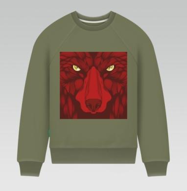Квадратный волк - Свитшот мужской хаки 240гр, тонкий, Популярные