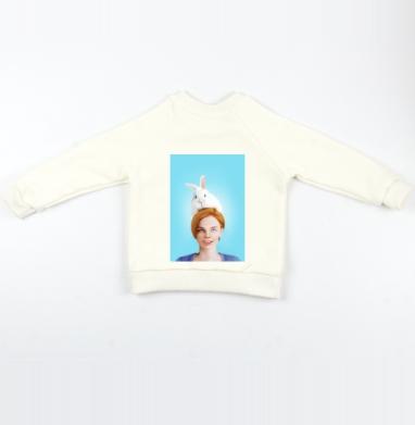 Алиса, следуй за белым кроликом - Cвитшот Детский Экрю 320гр, стандарт, Популярные