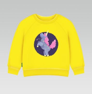 Ежевичный Единорог, Cвитшот Детский желтый 240гр, тонкая
