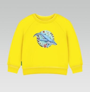Кит под водой - Cвитшот Детский желтый 240гр, тонкая, Популярные